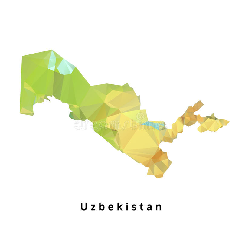 Polygonal χάρτης του Ουζμπεκιστάν, γεωμετρικός χάρτης πολυγώνων, που απομονώνεται διανυσματική απεικόνιση