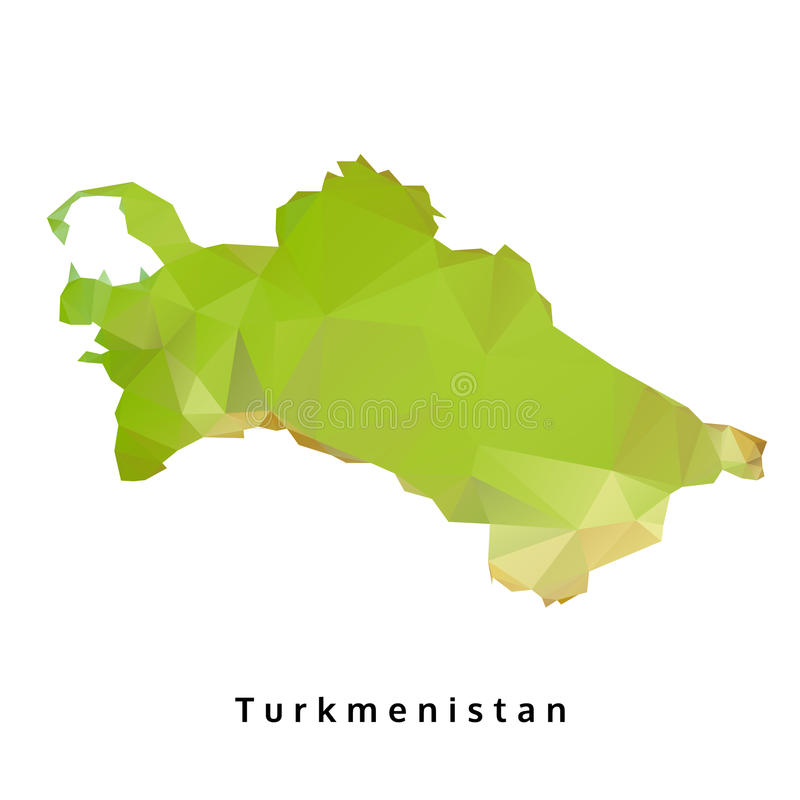 Polygonal χάρτης του Τουρκμενιστάν, γεωμετρικός πράσινος χάρτης πολυγώνων ελεύθερη απεικόνιση δικαιώματος