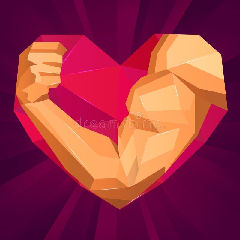 Polygonal χέρι bodybuilders με τους δικέφαλους μυς στην καρδιά ελεύθερη απεικόνιση δικαιώματος