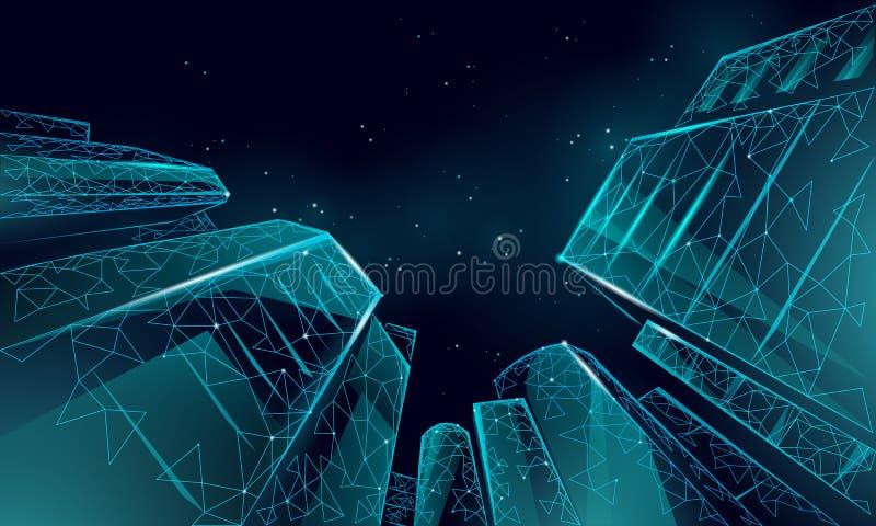 Polygonal χαμηλά κτήρια επιχειρησιακού σύγχρονα γυαλιού γωνίας Υψηλό τοπίο πόλεων ουρανού προσιτότητας ανόδου ουρανοξυστών Τραπεζ διανυσματική απεικόνιση