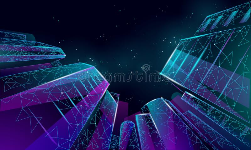 Polygonal χαμηλά κτήρια επιχειρησιακού σύγχρονα γυαλιού γωνίας Υψηλό τοπίο πόλεων ουρανού προσιτότητας ανόδου ουρανοξυστών Τραπεζ απεικόνιση αποθεμάτων