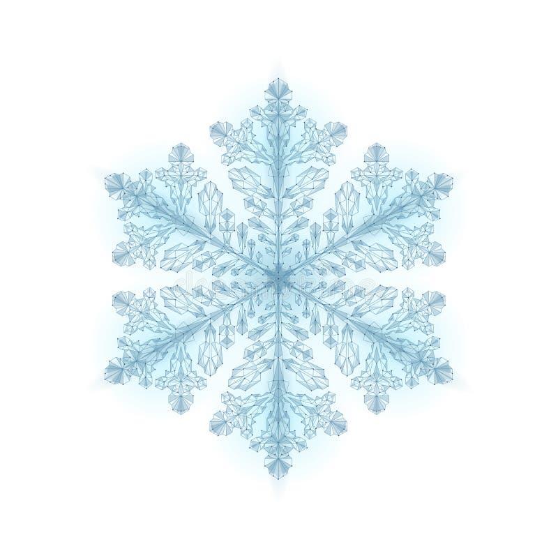 Polygonal χαμηλό πολυ εορταστικό snowflake Απομονωμένος τρισδιάστατος λεπτομερής δίνει τη γεωμετρική ευχετήρια κάρτα τριγώνων Κρύ ελεύθερη απεικόνιση δικαιώματος