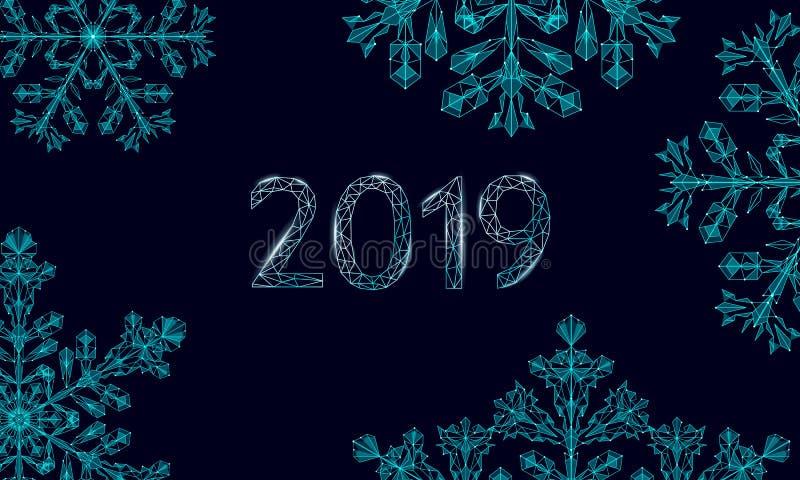 Polygonal χαμηλό πολυ snowflake του 2019 Απομονωμένος τρισδιάστατος λεπτομερής δίνει τη γεωμετρική ευχετήρια κάρτα τριγώνων Σκοτά απεικόνιση αποθεμάτων