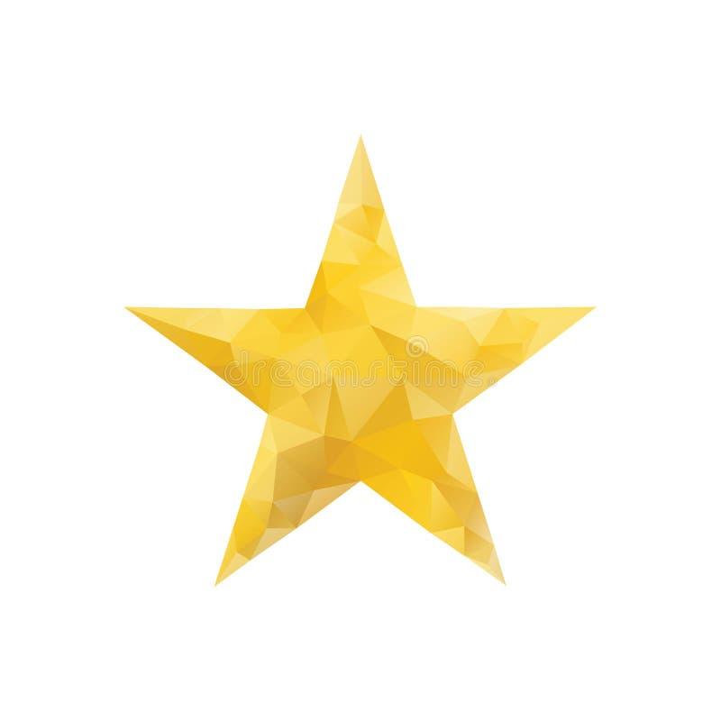 Polygonal χρυσό αστέρι που απομονώνεται διανυσματική απεικόνιση