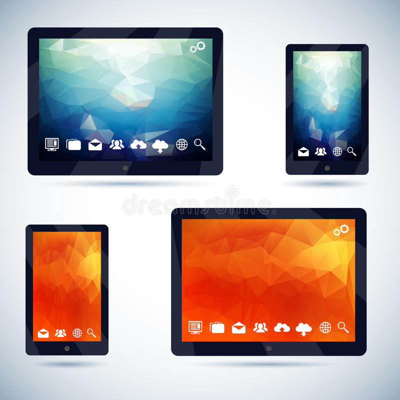 Polygonal Abstract Background on Mobile Devices. With Icons Vector Illustration royalty free illustration