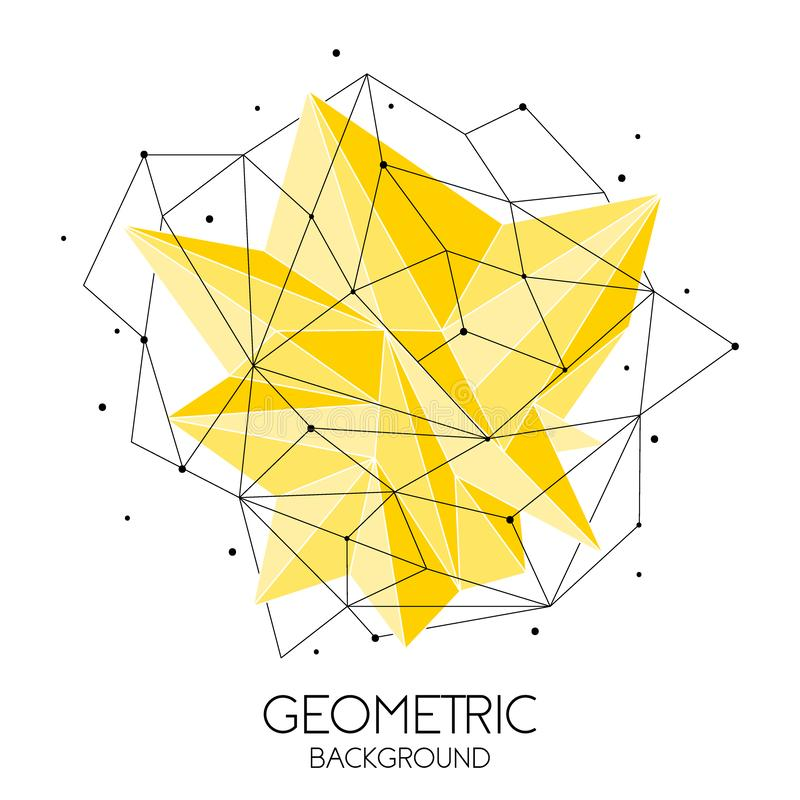 Polygonal abstract futuristic template, low poly sign on white background. Vector lines, dots and triangle shapes royalty free illustration