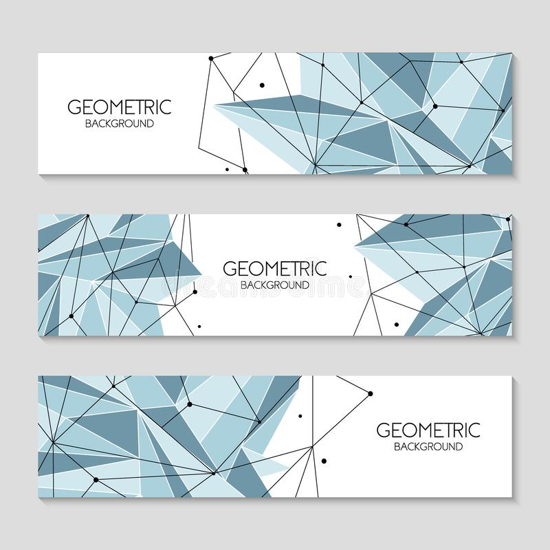 Polygonal abstract futuristic template, low poly sign on white background. Vector lines, dots and triangle shapes vector illustration