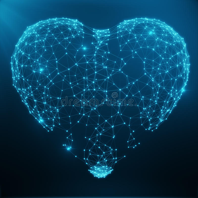Polygonal Abstract Heart Concept Consisting of Blue Dots and Lines. Digital Illustration. Polygonal Structure, Triangle. Structure. Consisting of Points and royalty free stock image