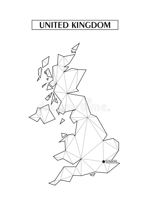 Polygonal abstract map of United Kingdom with connected triangular shapes formed from lines. Location point of London. Good poster. Maps of United Kingdom royalty free illustration