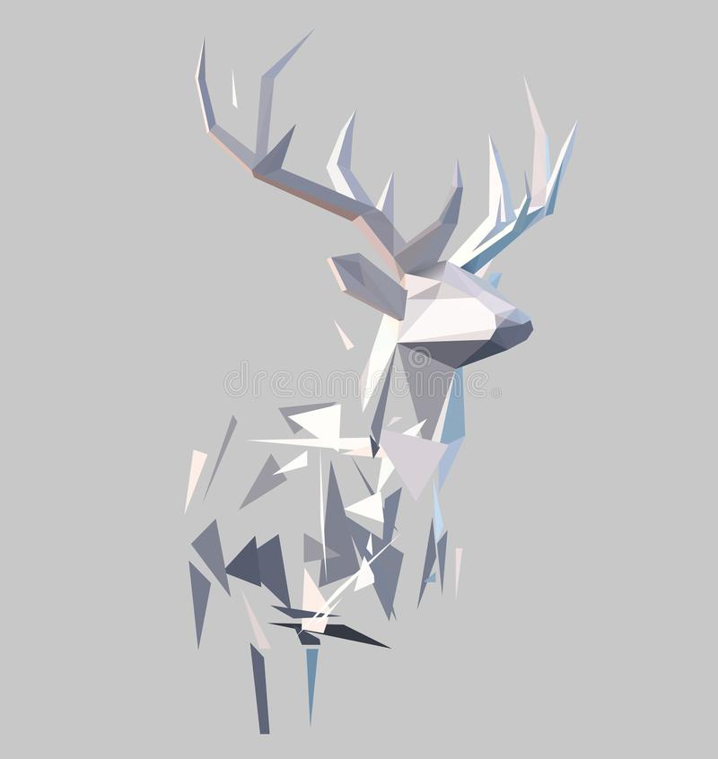 Polygonal abstract stag. Polygonal geometric low poly stile 3d stag background. Christmas design element royalty free illustration