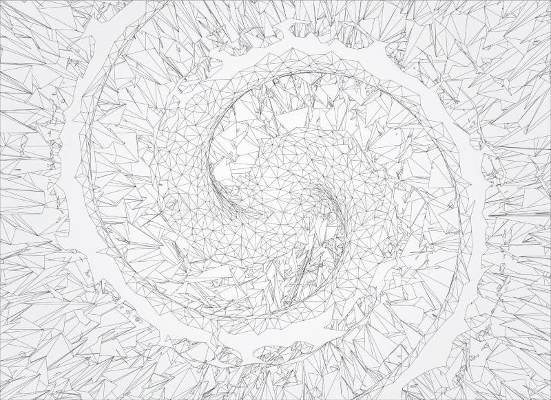 Polygonal abstrakt begreppspirallinje på vit bakgrund vektor illustrationer