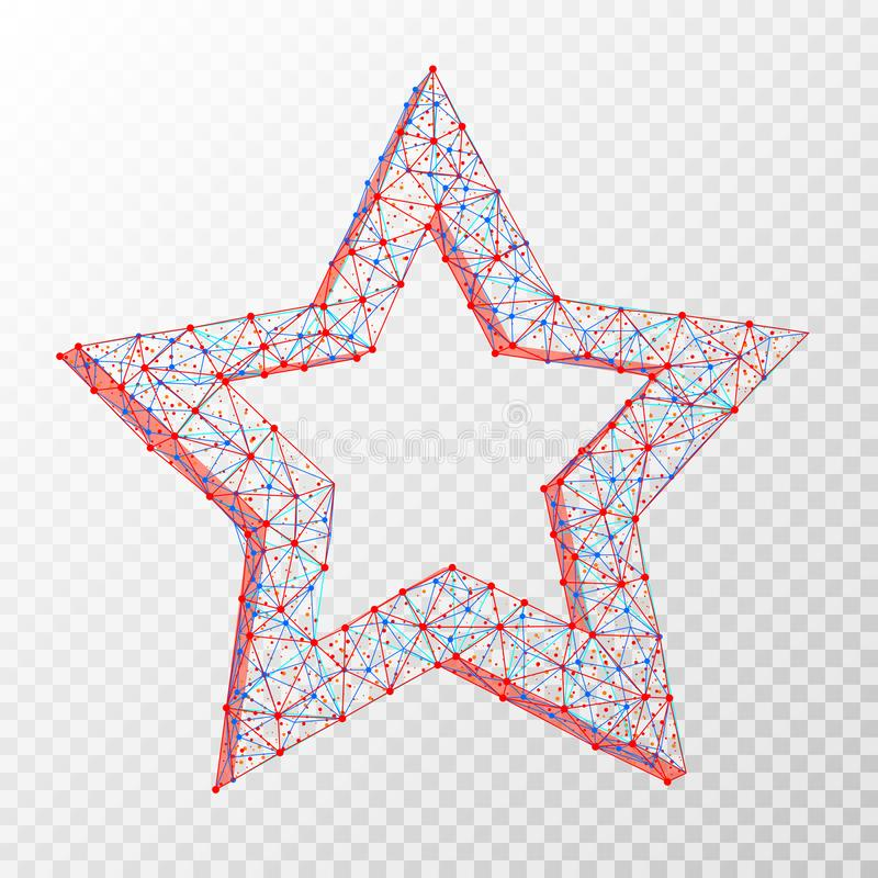 Polygonal abstrakt bild för vektor av stjärnan som består av prickar, punkter och linjer på genomskinlig bakgrund stock illustrationer