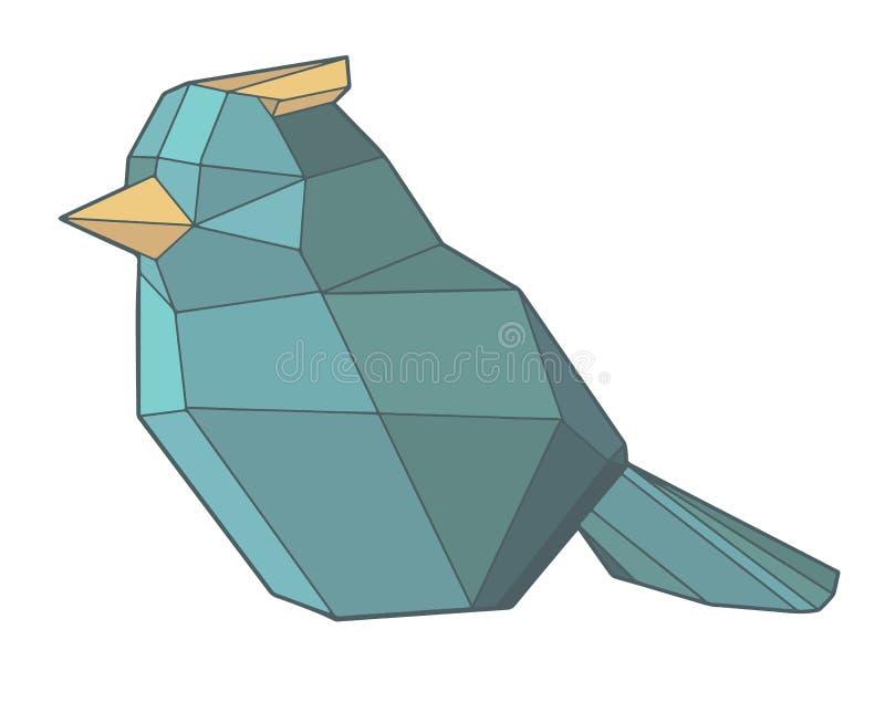 Polygonal abstrakt geometrisk isolerad vektorillustration för origami blå fågel vektor illustrationer