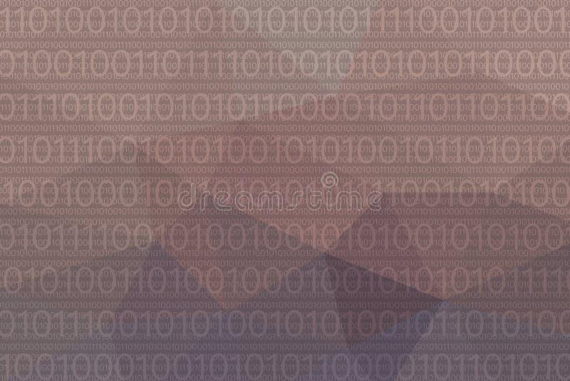 Polygonal abstrakt violett bakgrund med binära data royaltyfri illustrationer