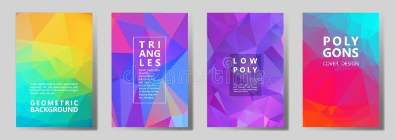 Polygonal abstrakta räkningssidor för fasett, låg poly uppsättning stock illustrationer