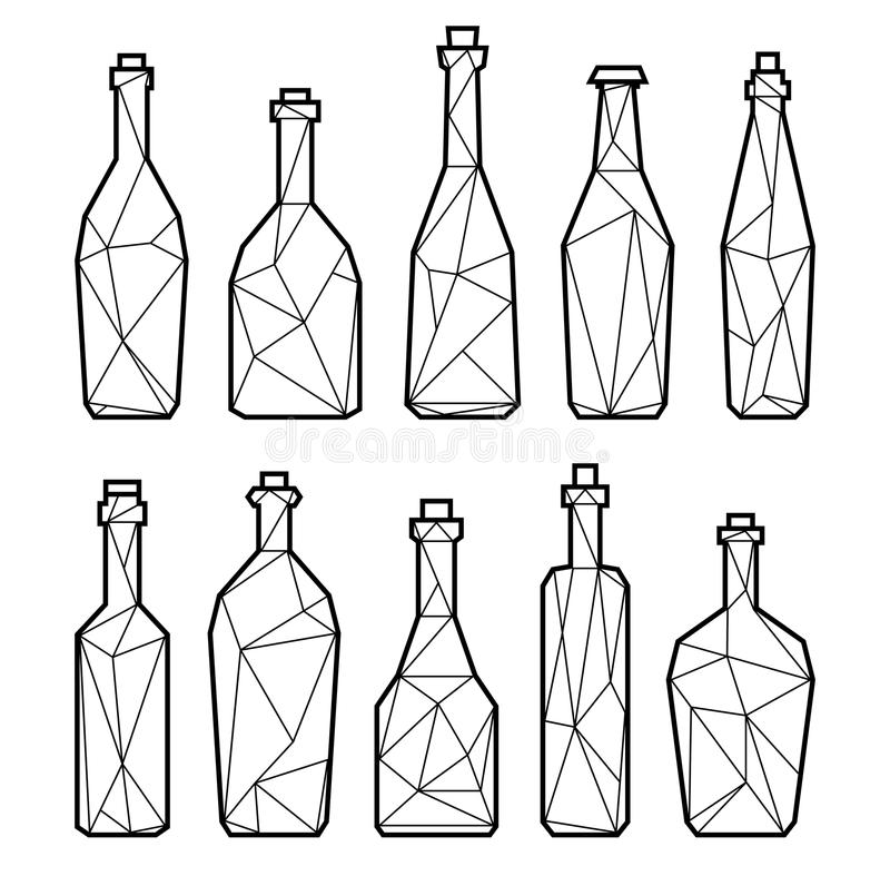 Polygonal alcohol bottles, champagne and wine. Set of polygonal alcohol bottles, champagne, bier and wine. Black and wine drink icons stock illustration