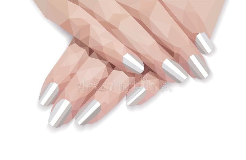 A polygonal arm pattern for manicure of female hellac white stock illustration