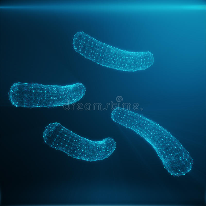 Polygonal Bacteria or Virus concept. Thin Line Concept. Polygonal Consisting Blue Dots and Lines. Blue Structure Style. Illustration. Shining Virus Model on stock photo