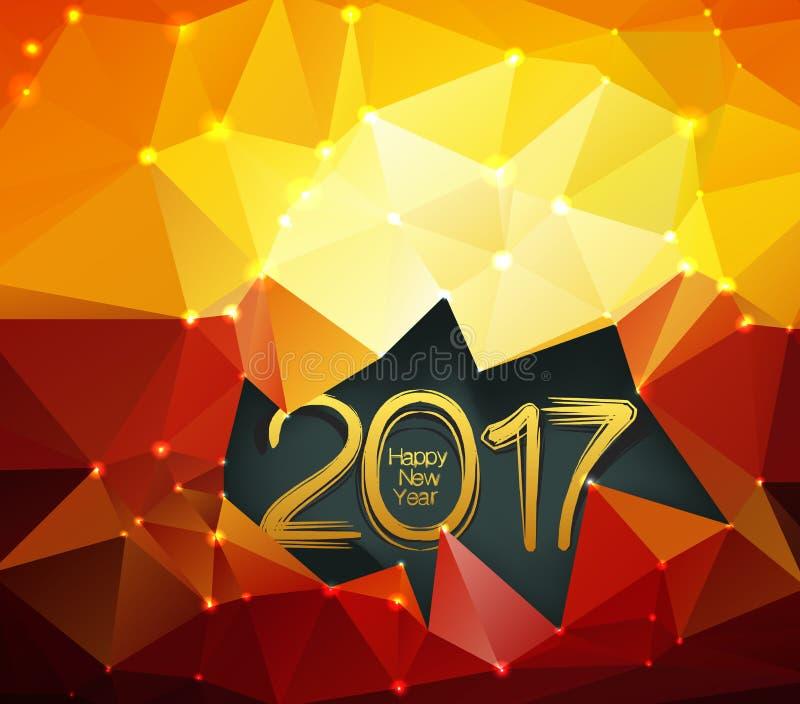 Polygonal bakgrund för lyckligt nytt år 2017 vektor illustrationer