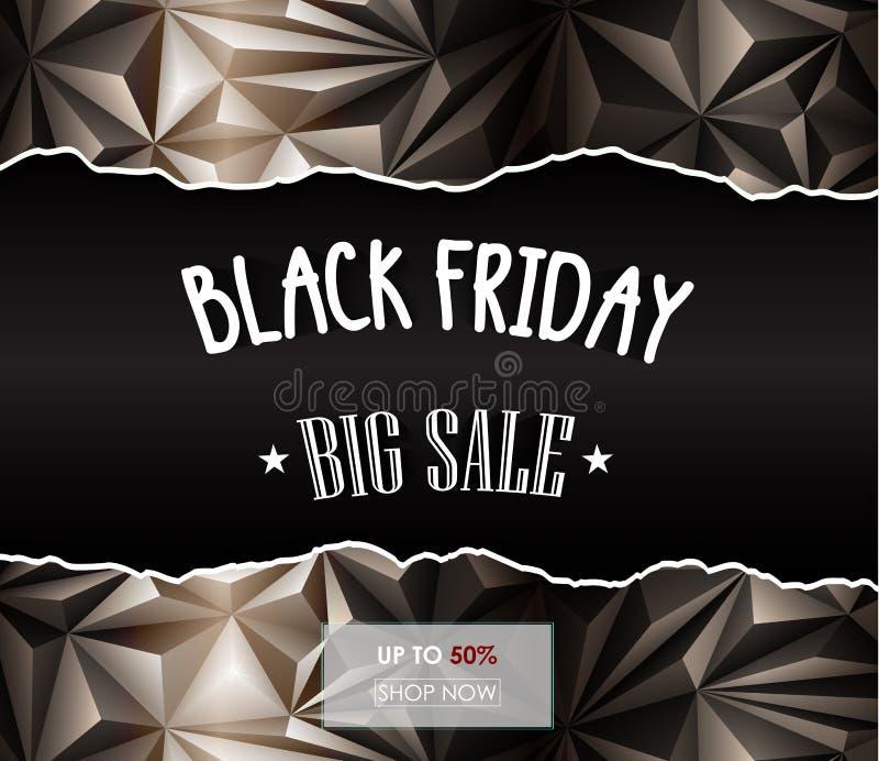 Polygonal bakgrund för svart fredag försäljning royaltyfri illustrationer