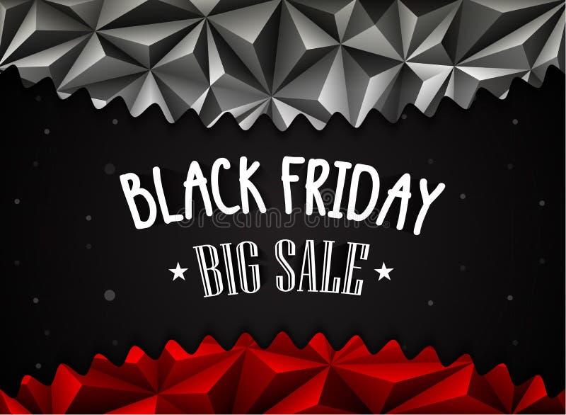 Polygonal bakgrund för svart fredag försäljning stock illustrationer