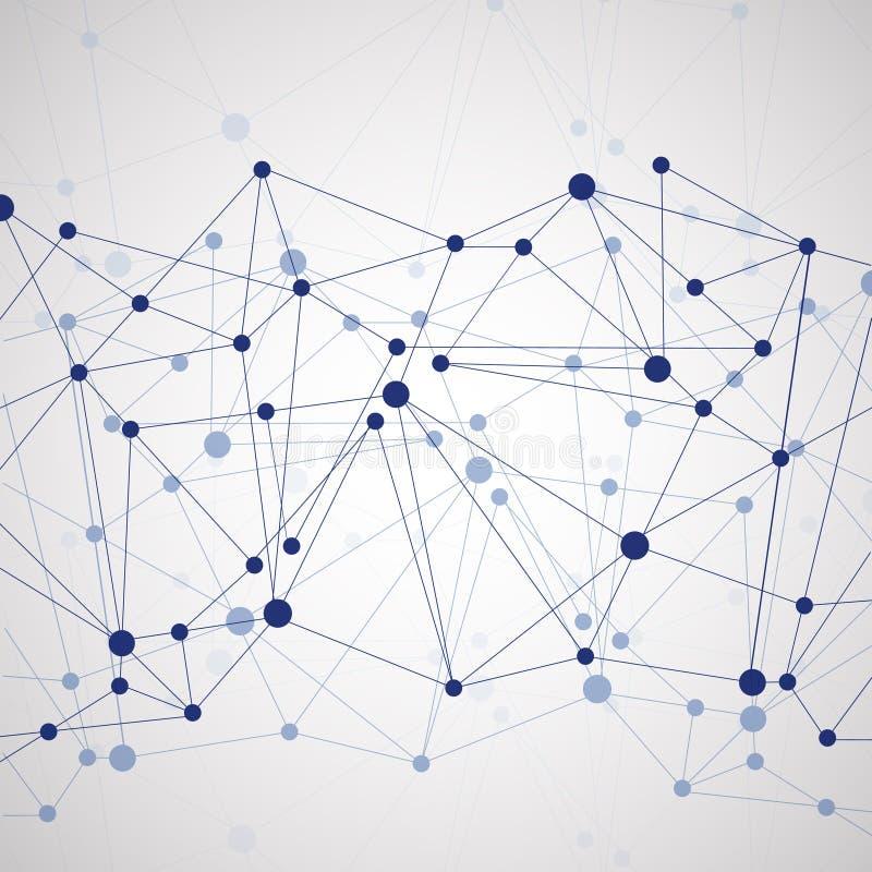 Polygonal bakgrund med abstrakt molekylär anslutning vektor illustrationer