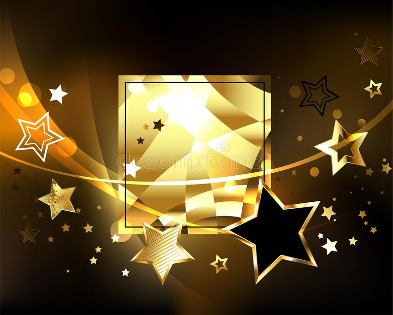 Polygonal baner med guld- stjärnor royaltyfri illustrationer