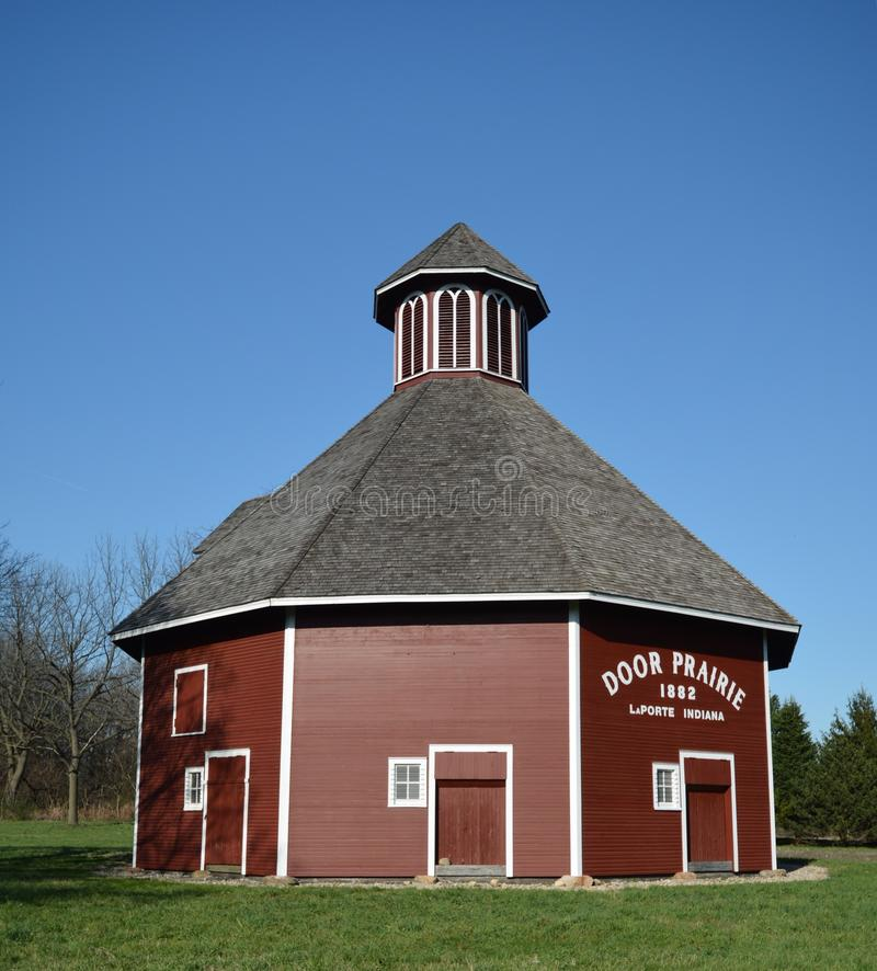 Polygonal Barn. This is a Spring picture of the Marion Ridgeway Polygonal Barn located in LaPorte, Indiana. The barn built in 1878 is an example of a Vernacular royalty free stock photo