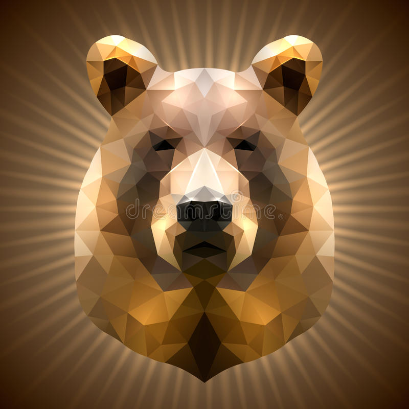Polygonal Bear. Shining Bear in Triangular Style on a Radiant Background royalty free illustration