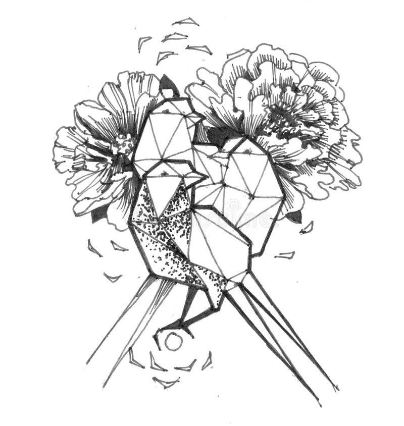 Polygonal birds with flowers. Tattoo design vector illustration