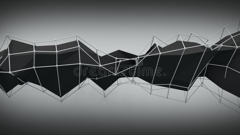 Polygonal black contruction. Abstract 3D render. Ing stock illustration