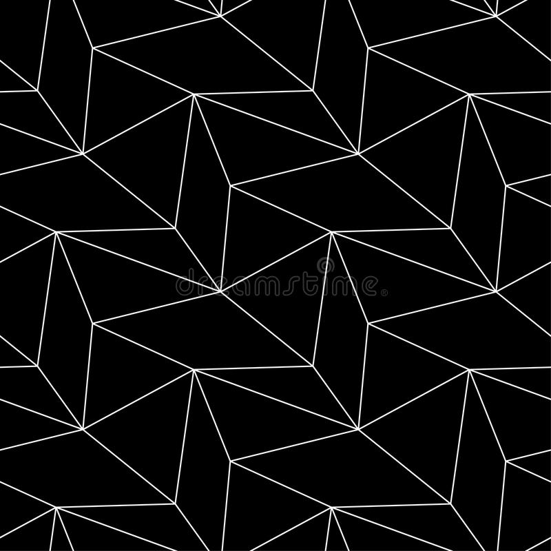 Polygonal Black and white monochrome geometric seamless pattern vector illustration