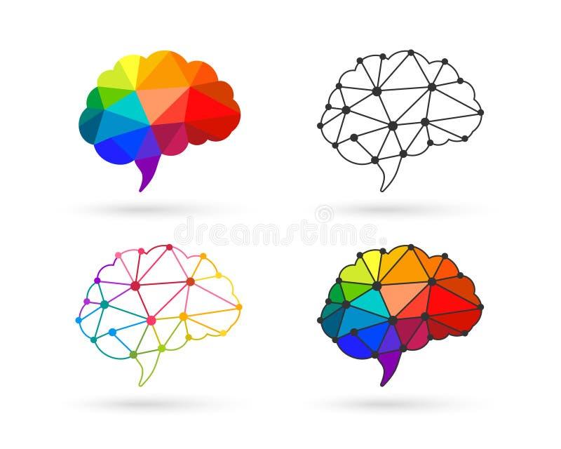Polygonal brain set stock illustration
