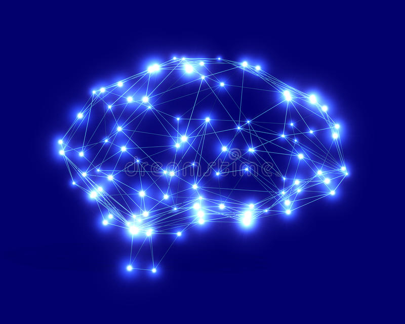 Polygonal brain shape with glowing lines and dots. stock illustration