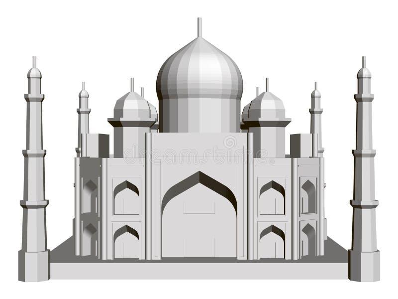 Polygonal building model of the Taj Mahal. 3D. Front view. Vector illustration stock illustration