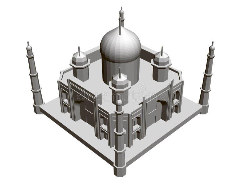 Polygonal building model of the Taj Mahal. 3D. Isometric view. Vector illustration.  stock illustration