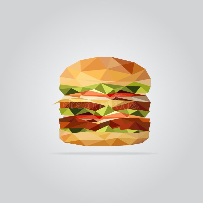 Polygonal burger illustration. royalty free stock image