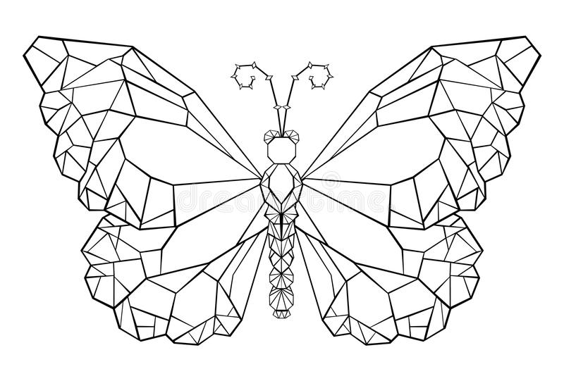 Polygonal butterfly monarch Black tattoo butterfly. Polygonal butterfly monarch painted in black outline on white background. Butterfly Monarch. Polygonal stock illustration