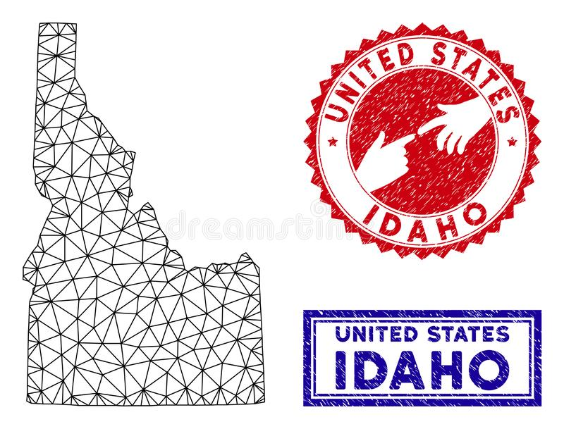 Polygonal Carcass Idaho State Map and Grunge Stamps. Network polygonal Idaho State map and grunge seal stamps. Abstract lines and spheric points form Idaho State royalty free illustration