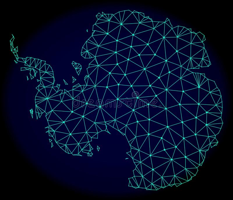 Polygonal Carcass Mesh Vector Abstract Map of Antarctica royalty free illustration