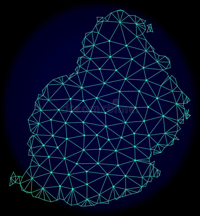 Polygonal Carcass Mesh Vector Abstract Map of Mauritius Island stock illustration