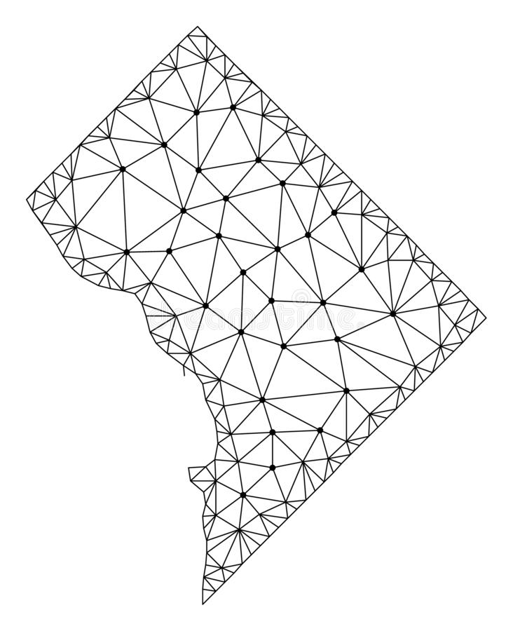 Polygonal Carcass Mesh Vector Map of District Columbia vector illustration