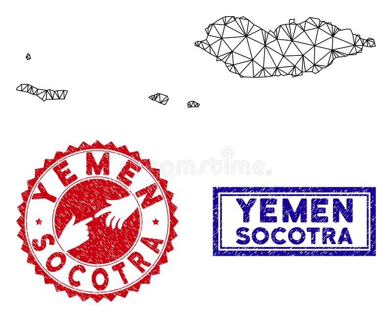 Polygonal Carcass Socotra Archipelago Map and Grunge Stamps. Wire frame polygonal Socotra Archipelago map and grunge seal stamps. Abstract lines and dots form vector illustration