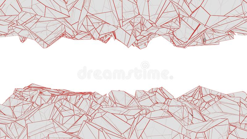 Polygonal cavern 3d rendering. Abstract polygonal cavern with red lines 3d rendering vector illustration