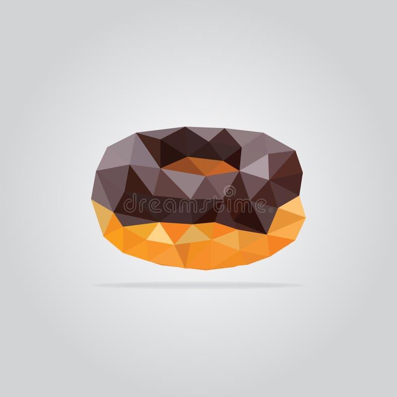 Polygonal chocolate donut illustration royalty free stock photo