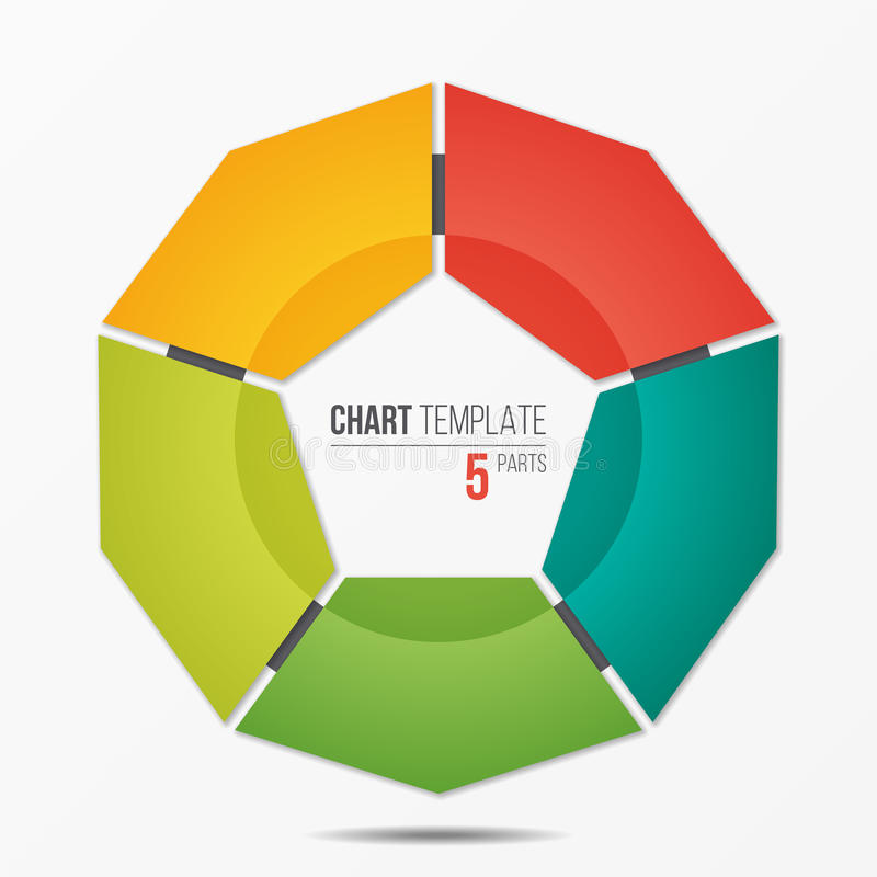 Polygonal circle chart infographic template with 5 parts royalty free illustration