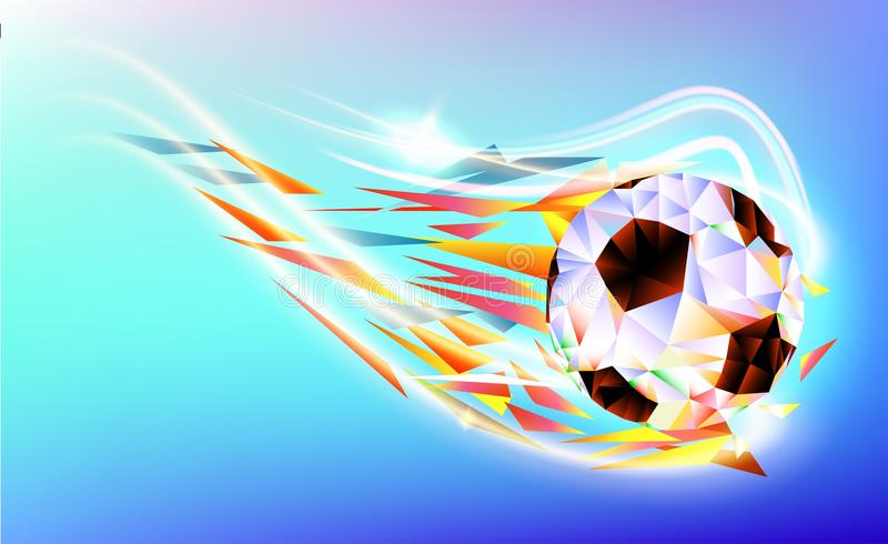 The polygonal colorful figure of Football 2018 world championship cup background soccer.  stock illustration