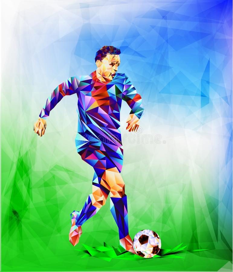 The polygonal colorful figure of Football 2018 world championship cup background soccer.  vector illustration