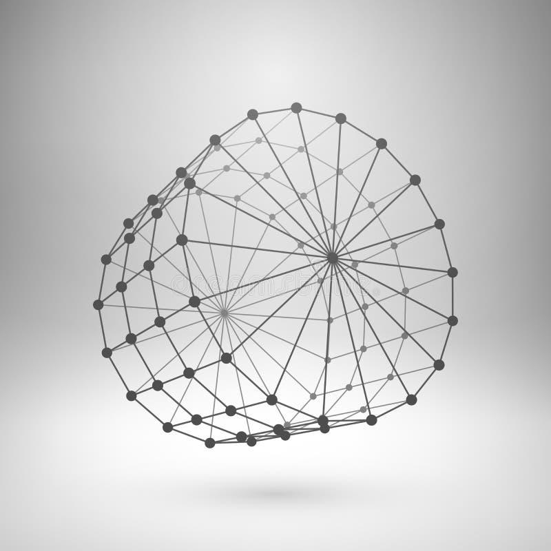 Polygonal cylinder för Wireframe ingrepp vektor illustrationer