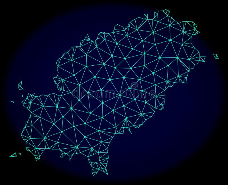 Polygonal 2D Mesh Vector Abstract Map av den Ibiza ön vektor illustrationer